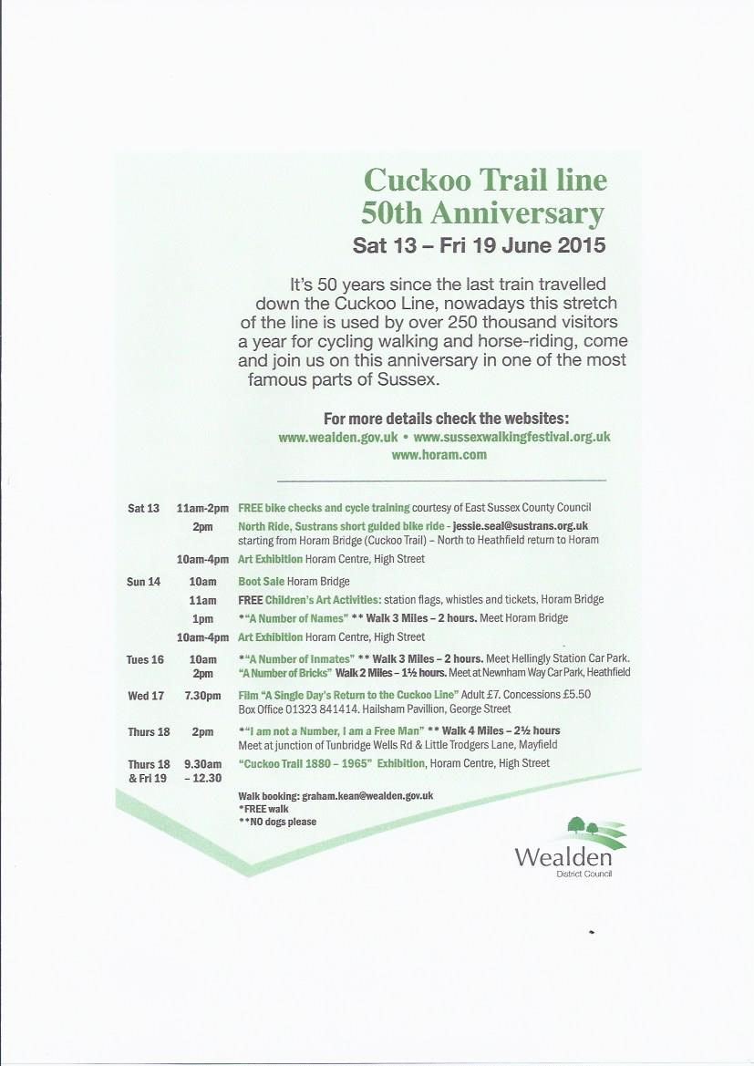 Celebrate the 50th anniversary of the Cuckoo Line trail