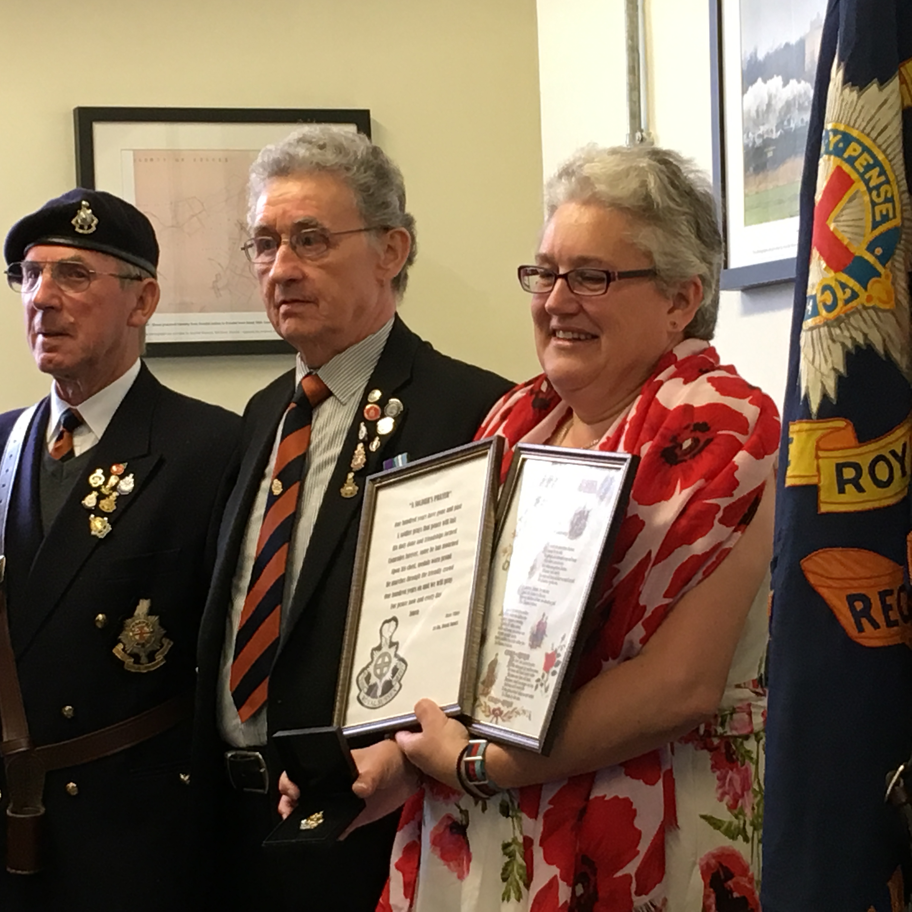 Laura receives presentation from Royal Sussex Regiment